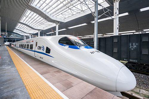 Fuzhou, China - November 19, 2016: CRH High-speed Train ready to leave the Fuzhou Station. CRH, or China Railways High-speed, is the high-speed rail service operated in China.